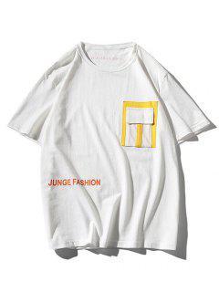 T-shirt Lettre ImpriméeJointifContrasté Avec Poche - Blanc 3xl
