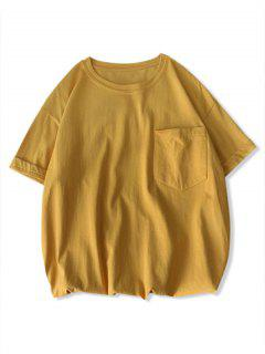 Solid Color Front Pocket Round Collar T-shirt - Yellow 3xl