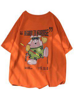 T-shirtDécontractéGraphique Cochon à Manches Courtes - Orange Citrouille S