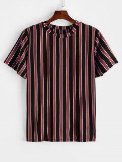 ZAFUL Colorblock Striped Print Short Sleeve T-shirt - Firebrick Xl