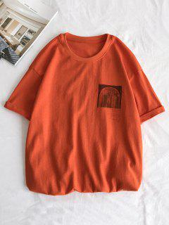 Short Sleeves Plain Graphic Tee - Pumpkin Orange Xs