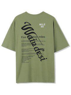 Texting Graphic Print Basic T-shirt - Green 2xl