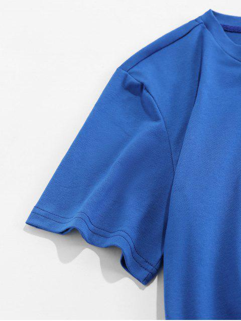 T-Shirt Stampata Luna con Maniche Corte - Blu 2XL Mobile