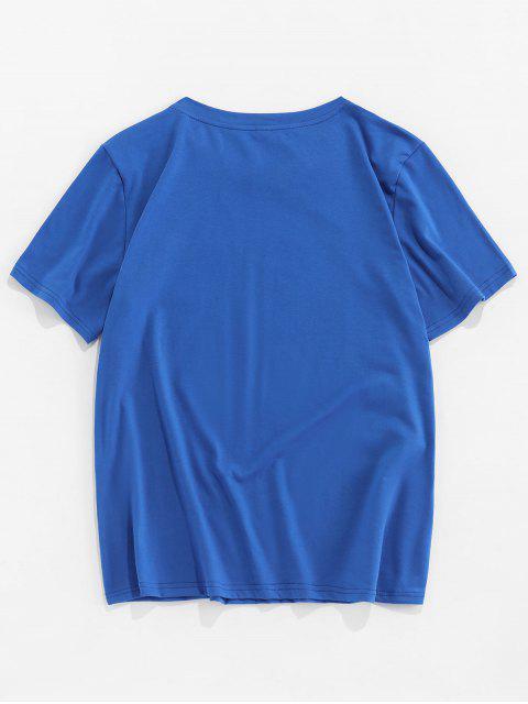 Moon Printed Short Sleeves T-shirt - أزرق 2XL Mobile