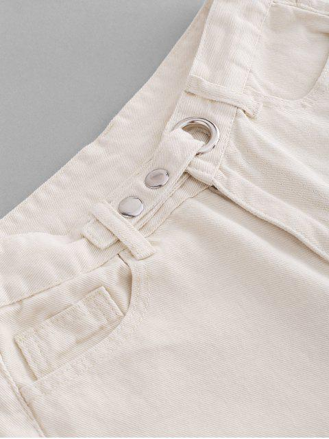 fancy Grommet Frayed Hem Ripped Cutoff Shorts - MILK WHITE XL Mobile