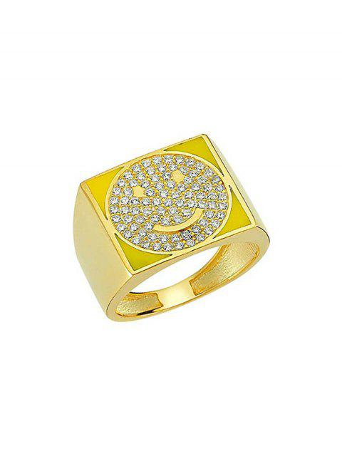 chic Rhinestones Smile Face Square Ring - YELLOW  Mobile