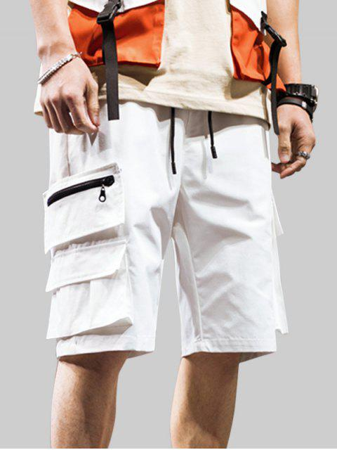 latest Zipper Pocket Decoration Casual Shorts - WHITE 3XL Mobile