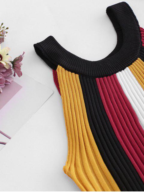 Top de Alças de Malha Recortadas com Listras - Amarelo Um Tamanho Mobile