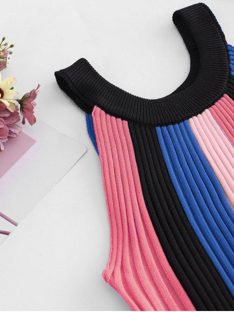 ladies Crew Neck Colorblock Stripes Knitted Tank Top - BLUE ONE SIZE Mobile