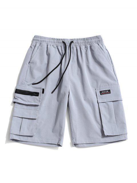 new Zipper Pocket Decoration Casual Shorts - GRAY CLOUD XL Mobile