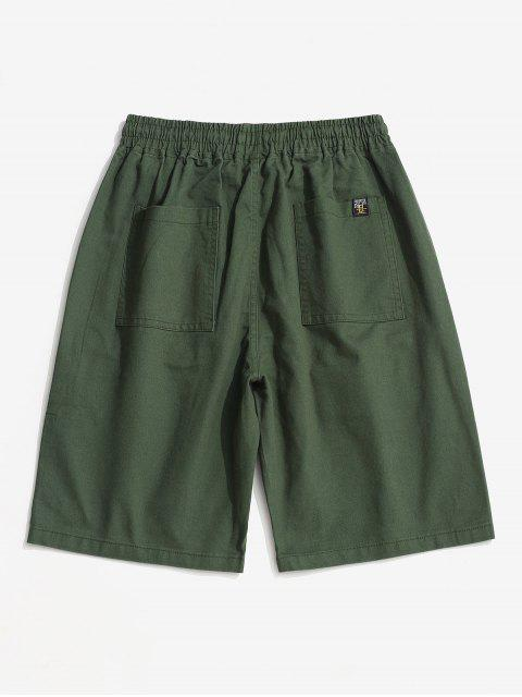 shop Letter Pattern Zipper Pocket Cargo Shorts - ARMY GREEN XL Mobile