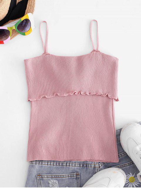 Haut à Bretelle Tricoté à Ourlet en Laitue à Lacets - Rose  Taille Unique Mobile