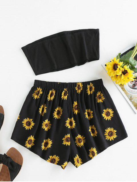 buy ZAFUL Sunflower Print Strapless Wide Leg Shorts Set - BLACK S Mobile