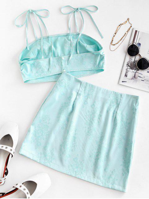 Mini Saia Ombro de Gravata com Flor - Aquamarine Leve S Mobile