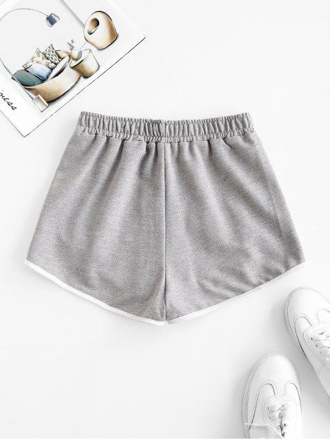 buy Piping Contrast Dolphin Sweat Shorts - GRAY L Mobile