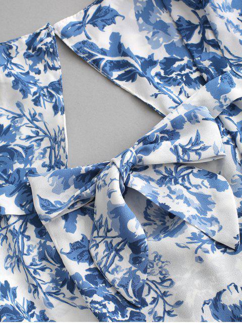Vestito Mini Floreale con Ritaglio e Fiocco Posteriore - Blu L Mobile