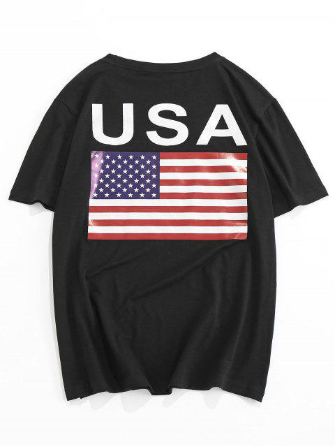 T-Shirt di ZAFUL con Stampa Bandiera Americana - Nero 2XL Mobile