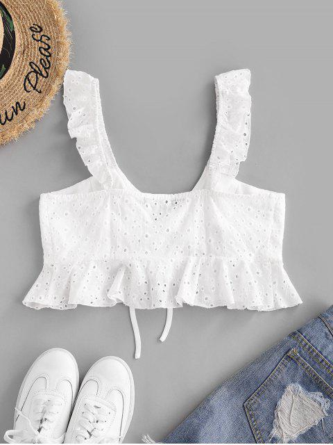 sale ZAFUL Broderie Anglaise Ruffle Plunge Crop Top - WHITE L Mobile