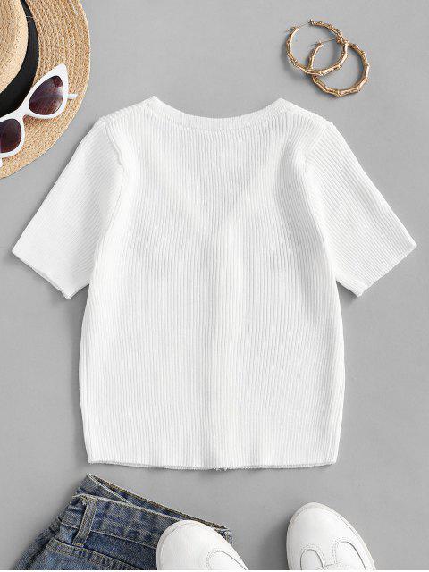 T-shirt in Maglia Ricamata Floreale con Bottoni Automatici - Bianca Taglia unica Mobile
