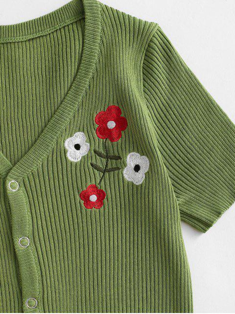 Camiseta com Abotoado de Pressão de Malha Bordada Floral - Verde de Fern  Um Tamanho Mobile