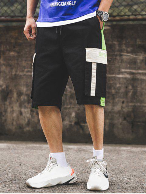 unique Letter Pattern Color Spliced Cargo Shorts - BLACK 2XL Mobile