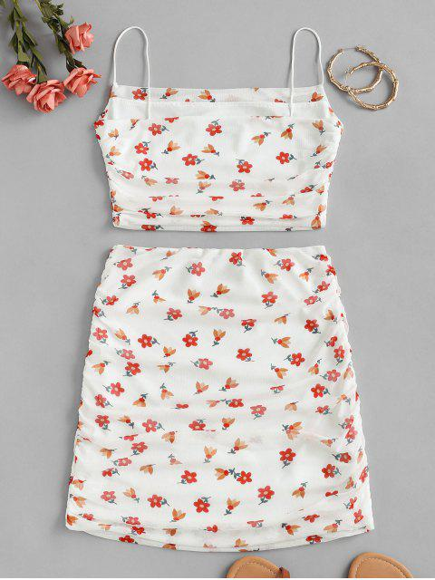 lady Floral Mesh Ruched Cami Two Piece Set - WHITE S Mobile
