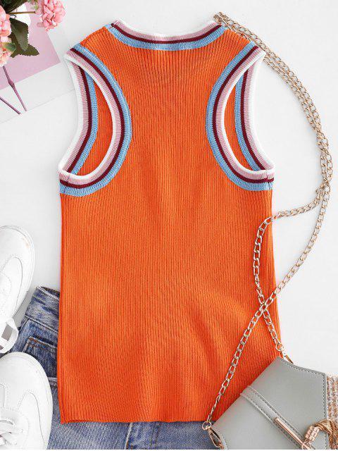 Débardeur en Tricot Panneau Rayé à Col Rond - Orange Taille Unique Mobile