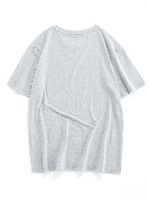 ladies ZAFUL Leopard Pattern Short Sleeves T-shirt - LIGHT GRAY XL Mobile