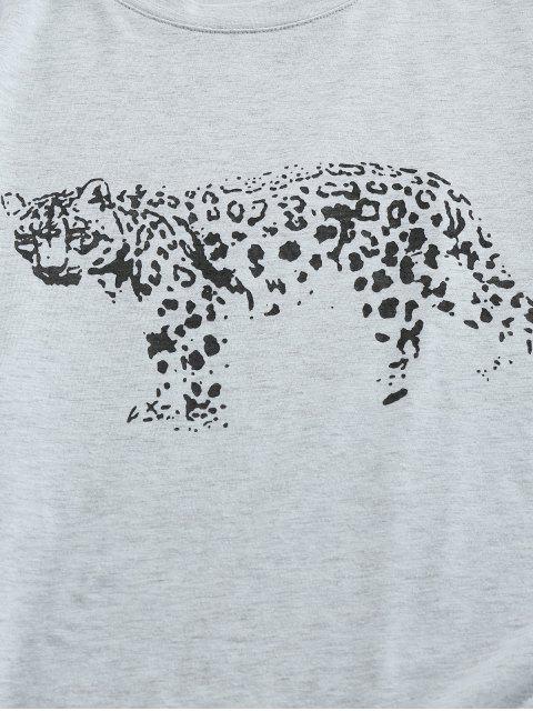 ZAFUL T-shirt Motif de Léopard à Manches Courtes - Gris Clair 2XL Mobile