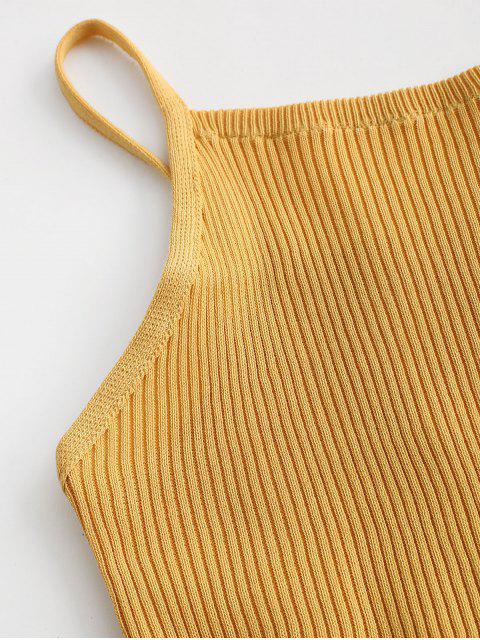 Débardeur Tricoté Côtelé en Treillis - Verge d'Or Taille Unique Mobile