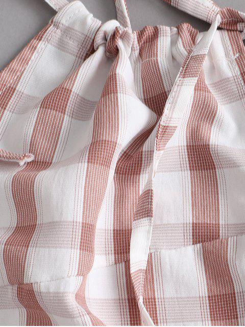 Mini Robe Fendue à Carreaux à Epaule Nouée - Saumon Foncé M Mobile