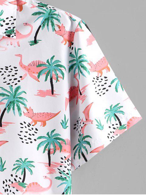 new Dinosaur Palm Tree Print Button Up Beach Shirt - MULTI 2XL Mobile