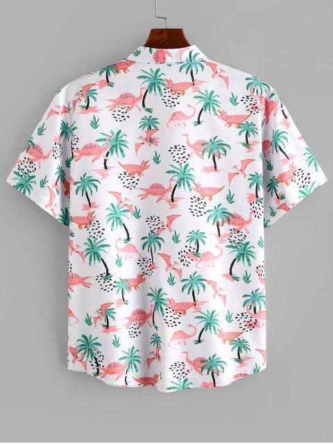 lady Dinosaur Palm Tree Print Button Up Beach Shirt - MULTI M Mobile