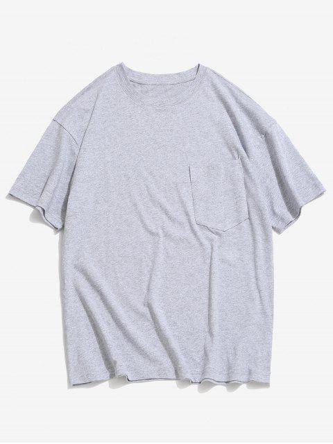 T-shirt en Couleur Unie avec Poche en Avant à Col Rond - Gris Foncé 2XL Mobile