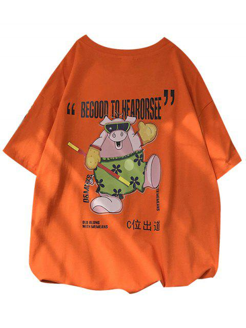 T-shirt Gráfico de Manga Curta de Porco - Cor de Laranja da Abóbora  S Mobile