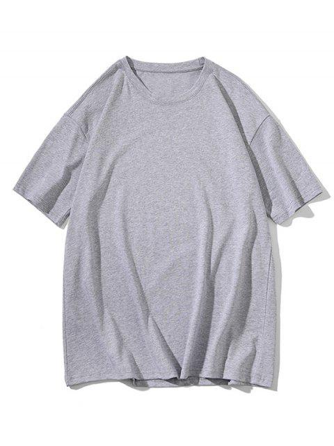 T-shirt Clássico de Impressão de Colar Redondo - Cinza claro 3XL Mobile