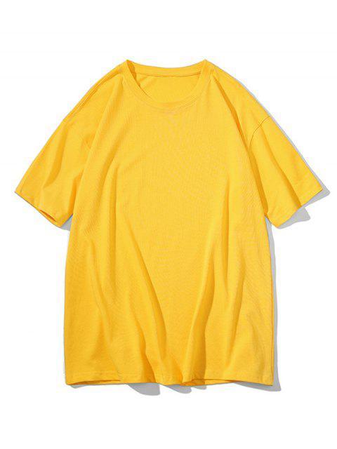 fashion Crew Neck Pure Color Classic T-shirt - BRIGHT YELLOW 3XL Mobile
