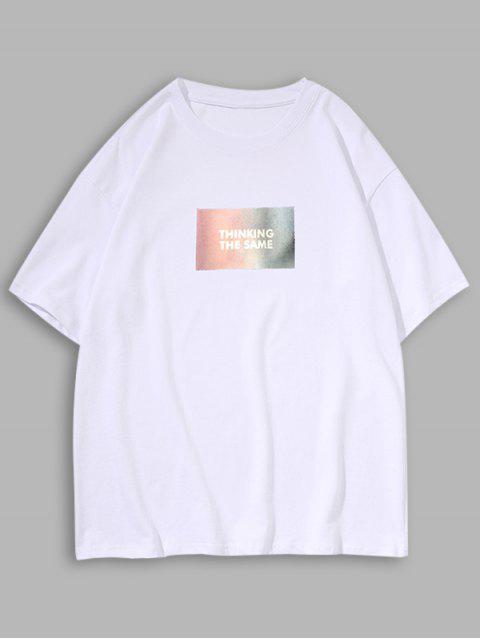 T-Shirt Floreale a Collo Alto con Stampa Lettere - Bianca 2XL Mobile