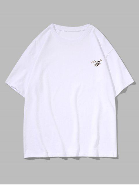Drop Shoulder Simple Style Graphic Casual T Shirt - أبيض 3XL Mobile