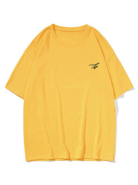 latest Drop Shoulder Simple Style Graphic Casual T Shirt - YELLOW 3XL Mobile