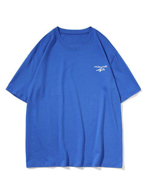 Camisola de Estilo Casual com Manga Simples - Azul 2XL Mobile