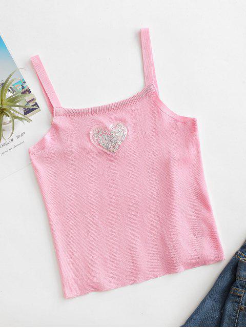 Regata Tricotada com Padrão de Coração sem Mangas - Rosa Um Tamanho Mobile