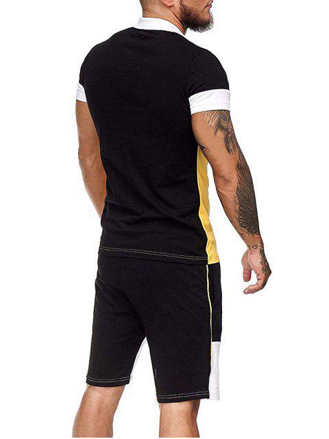 配色ハーフボタンTシャツやドローストリングカジュアルショーツセット - 黄 3XL Mobile