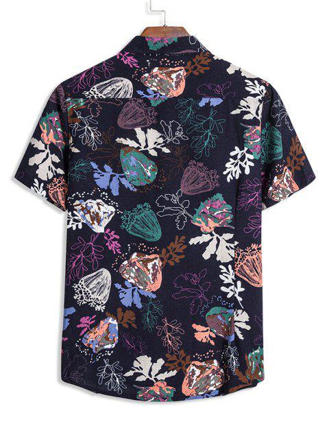 affordable Vintage Leaves Print Short Sleeve Shirt - LAPIS BLUE 2XL Mobile