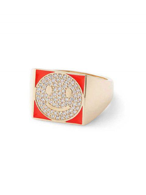sale Rhinestones Smile Face Square Ring - LAVA RED  Mobile