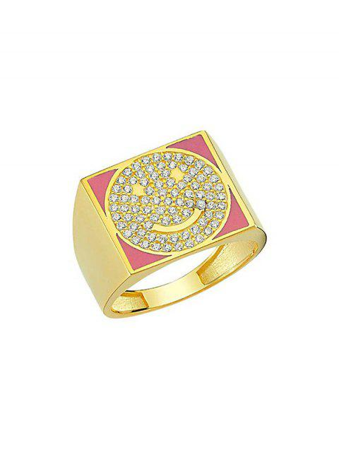 fancy Rhinestones Smile Face Square Ring - HOT PINK  Mobile
