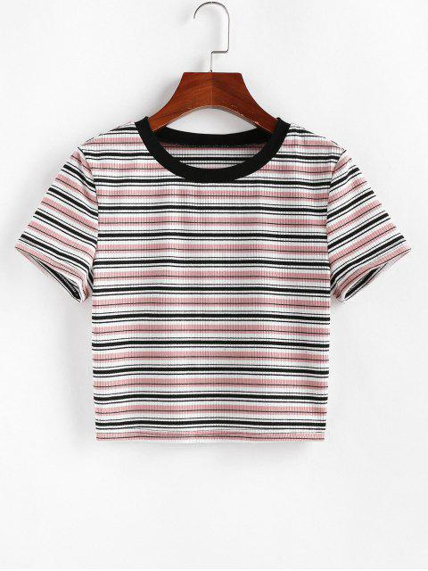 new ZAFUL Striped Ribbed Crop T-shirt - MULTI-A S Mobile