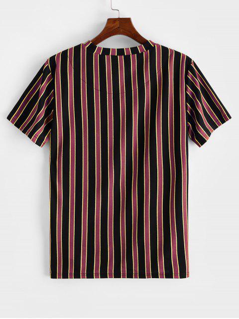 ZAFUL T-shirt de Manga Curta Listrado de Impressão - Cor de Tijolo Refratário M Mobile