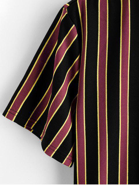 T-Shirt di ZAFUL a Righe a Blocchi di Colore con Maniche Corte - Mattone Fuoco XL Mobile