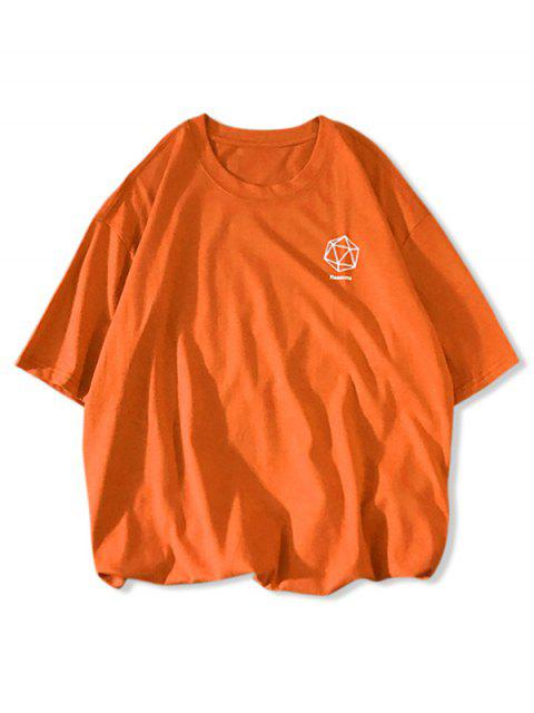 Hexagonal Graphic Drop Shoulder Short Sleeve T Shirt - يوسفي 2XL Mobile